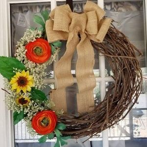 Handmade sunflower wreath